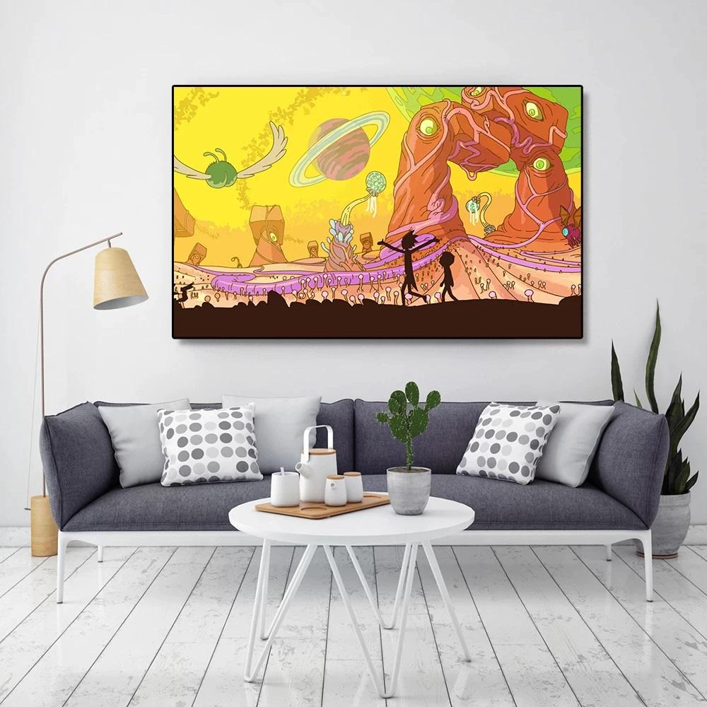 Rick and Morty World Canvas Wall Art