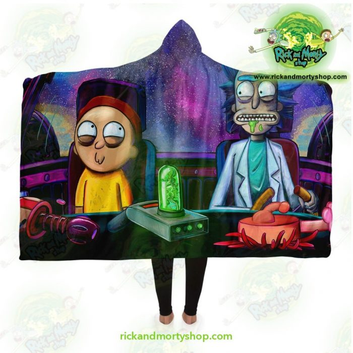 Funny Rick And Morty Hooded Blanket Adult / Premium Sherpa - Aop