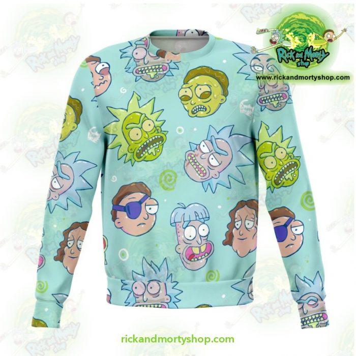 Funny Rick & Morty Face 3D Sweatshirt Xs Athletic - Aop