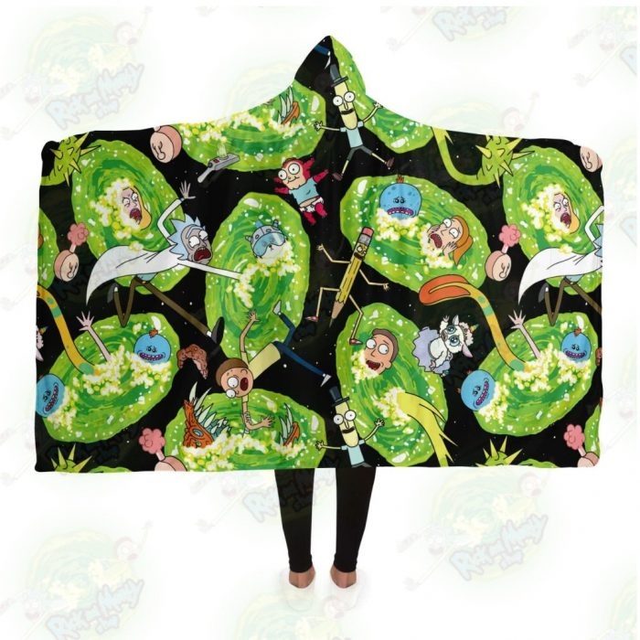 Hot Rick And Morty 3D Hooded Blanket Adult / Premium Sherpa - Aop