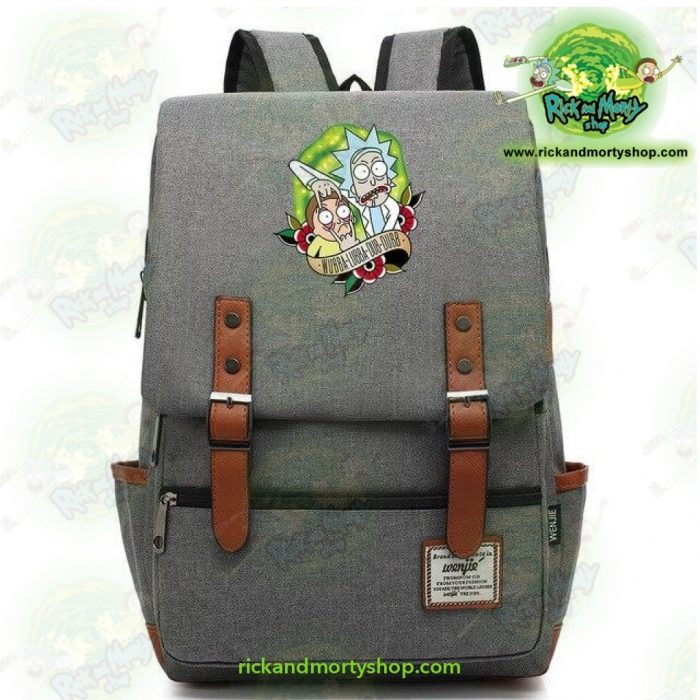 Hot Rick And Morty Travel Backpack Light Grey / 14 Inch