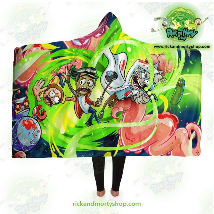 New Rick And Morty 3D Hooded Blanket Fashion Adult / Premium Sherpa - Aop