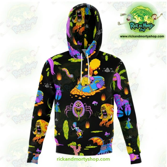 Rick And Morty Alien 3D Hoodie Xs Athletic - Aop