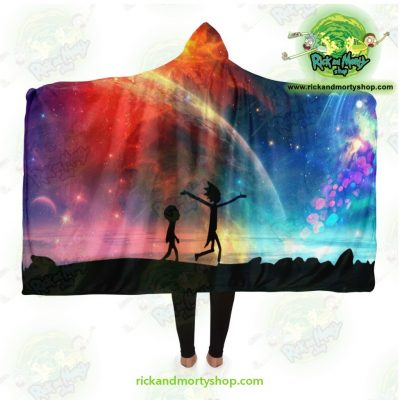 Rick And Morty Alien Glaxy Hooded Blanket Adult / Premium Sherpa - Aop