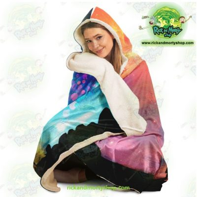 Rick And Morty Alien Glaxy Hooded Blanket - Aop