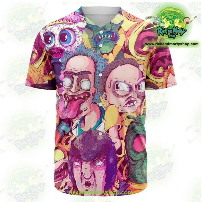 Rick And Morty Baseball Jersey Water Color Style Xs - Aop