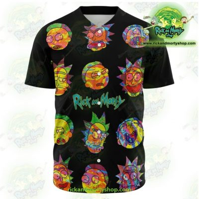 Rick And Morty Colorfull Face Baseball Jersey Xs - Aop