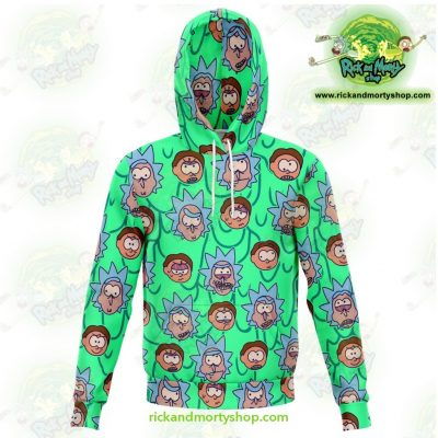Rick And Morty Facial Expression 3D Hoodie Xs Athletic - Aop