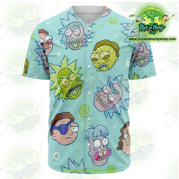 Rick And Morty Facial Expression Baseball Jersey Style 02 Xs - Aop