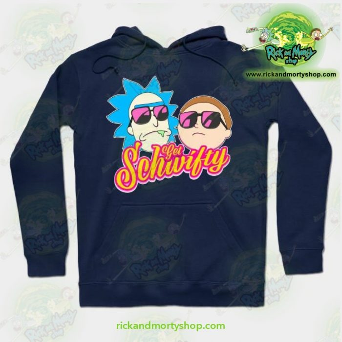 Rick And Morty Get Schwifty Hoodie Navy Blue / S Athletic - Aop