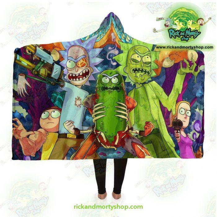 Rick And Morty Hooded Blanket - 3D Gun 2021 Adult / Premium Sherpa Aop