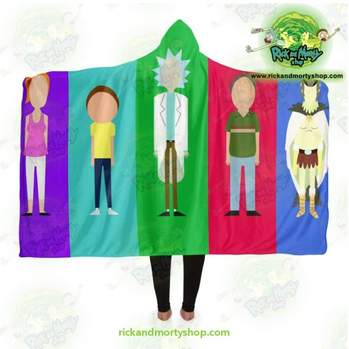Rick And Morty Hooded Blanket Fashion 5 Color Adult / Premium Sherpa - Aop