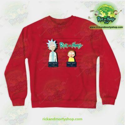 Rick And Morty Mugshot Crewneck Sweatshirt Red / S Athletic - Aop