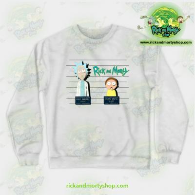 Rick And Morty Mugshot Crewneck Sweatshirt White / S Athletic - Aop