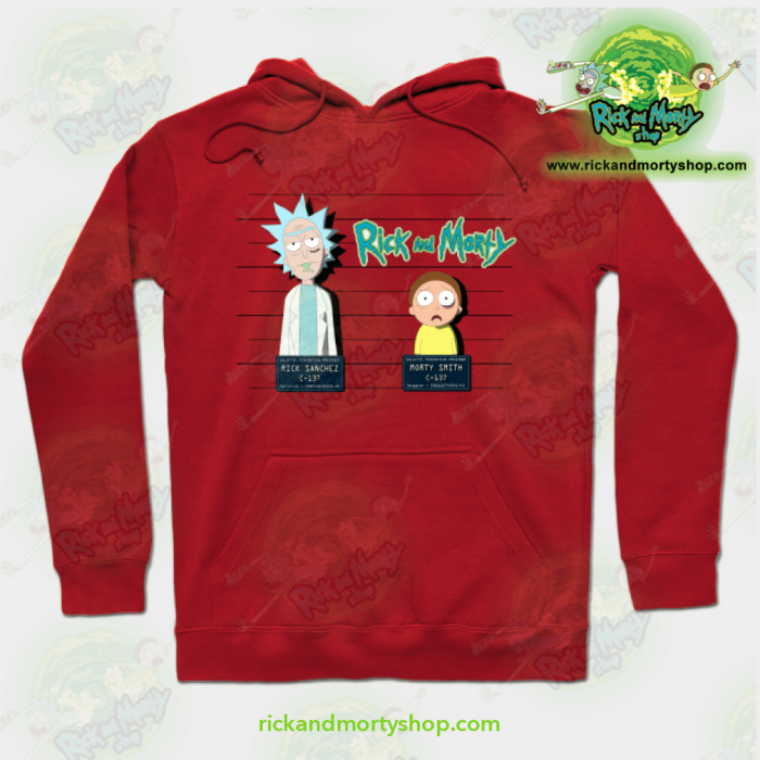 Rick And Morty Mugshot Hoodie Red / S Athletic - Aop