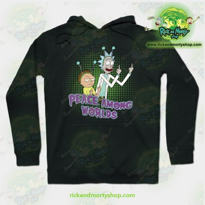 Rick And Morty Peace Among Worlds Hoodie Black / S Athletic - Aop