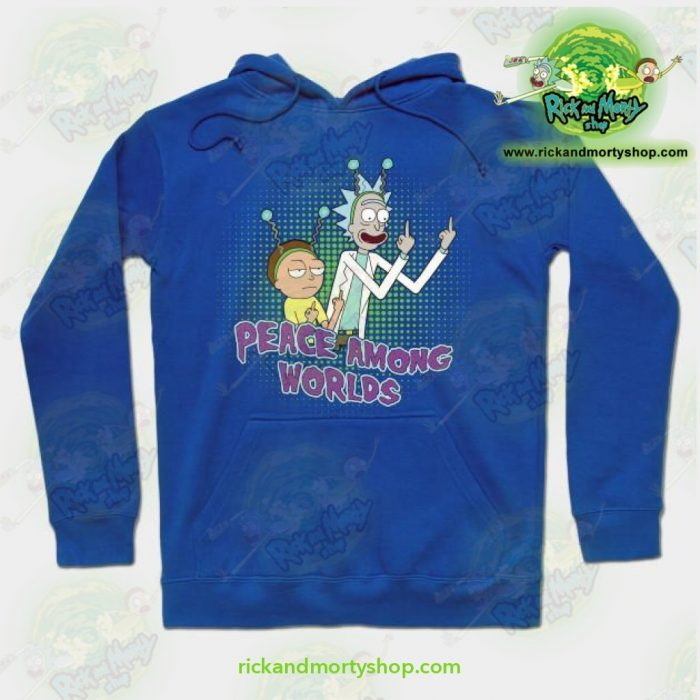 Rick And Morty Peace Among Worlds Hoodie Blue / S Athletic - Aop
