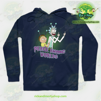 Rick And Morty Peace Among Worlds Hoodie Navy Blue / S Athletic - Aop