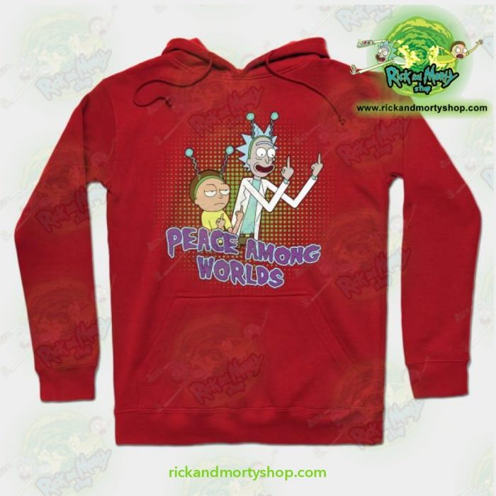Rick And Morty Peace Among Worlds Hoodie Red / S Athletic - Aop