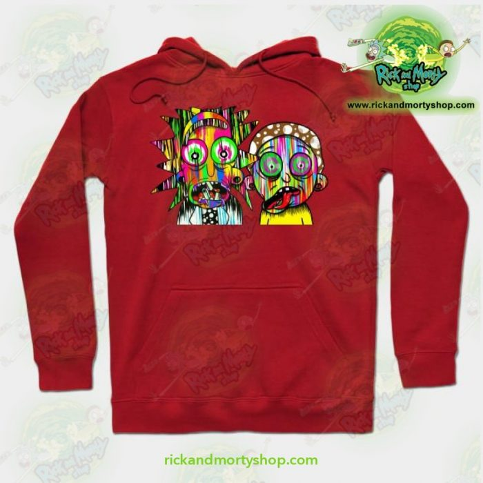 Rick And Morty Psychadelic Hoodie Red / S Athletic - Aop