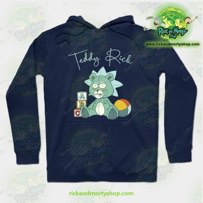 Rick And Morty Teddy Hoodie Navy Blue / S Athletic - Aop