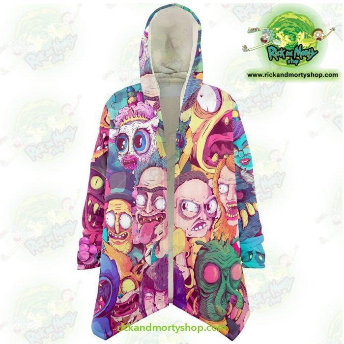 Rick And Morty Water Color Dream Cloak Coat Xs Microfleece - Aop
