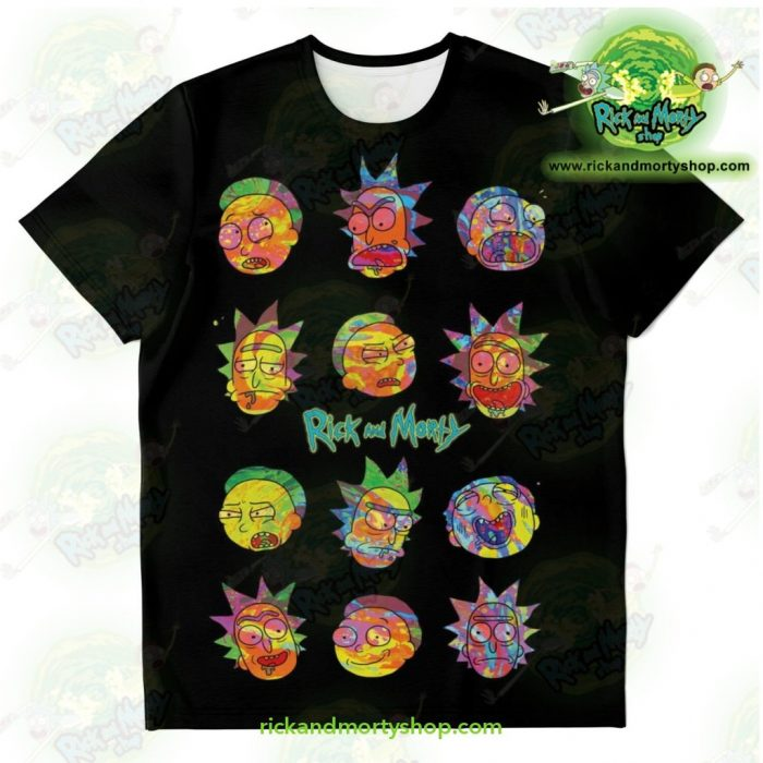 Rick & Morty Colorfull Face T-Shirt Xs T-Shirt