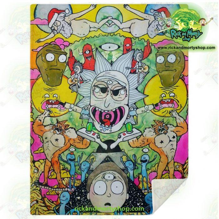Rick & Morty Funny Character Microfleece Blanket M Premium - Aop