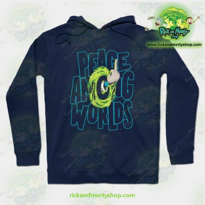 Rick & Morty Hoodie - Peace Among Worlds Navy Blue / S Athletic Aop