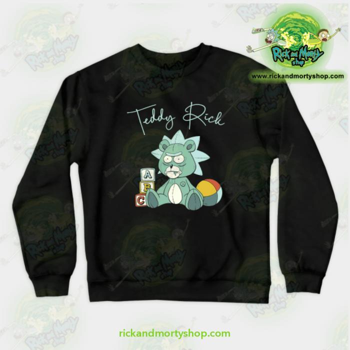 Rick & Morty Teddy Crewneck Sweatshirt Black / S Athletic - Aop