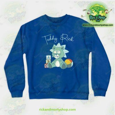 Rick & Morty Teddy Crewneck Sweatshirt Blue / S Athletic - Aop