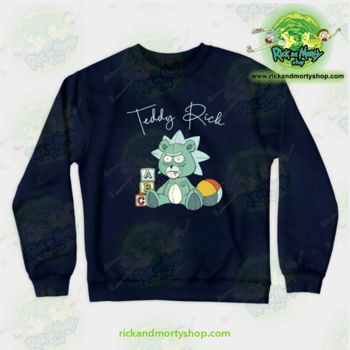 Rick & Morty Teddy Crewneck Sweatshirt Navy / S Athletic - Aop