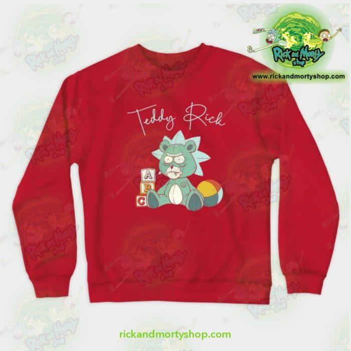 Rick & Morty Teddy Crewneck Sweatshirt Red / S Athletic - Aop
