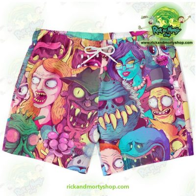 Rick & Morty Watercolor Swim Trunk Xs Trunks Men - Aop