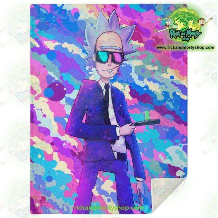 Rick Sanchez 3D Blue Microfleece Blanket M Premium - Aop