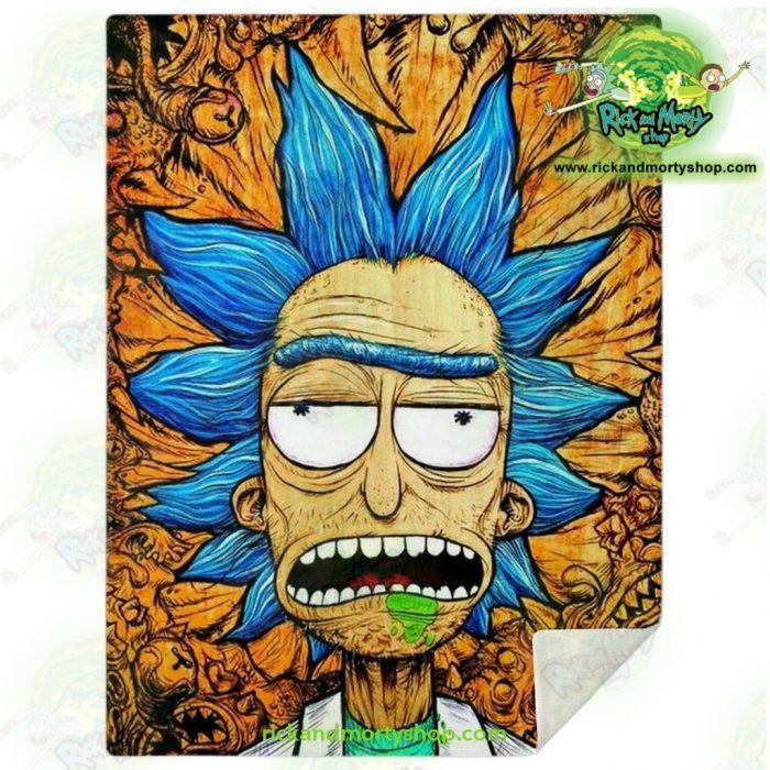 Rick Sanchez 3D Face Crazy Microfleece Blanket M Premium - Aop