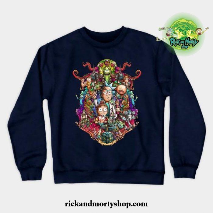 Buckle Up Morty! Crewneck Sweatshirt Navy Blue / S