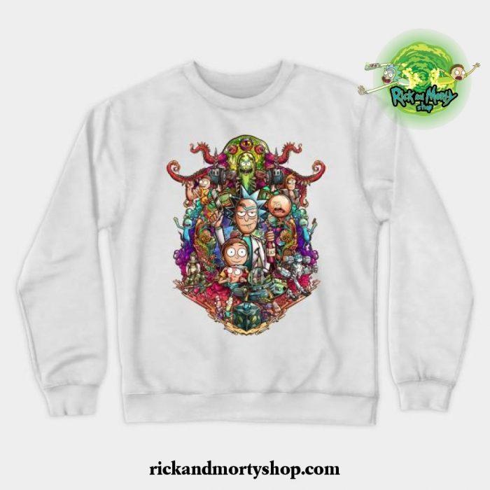 Buckle Up Morty! Crewneck Sweatshirt White / S