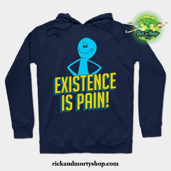 Existence Is Pain Classic Mr. Meeseeks Comic Block Letters Hoodie Navy Blue / S