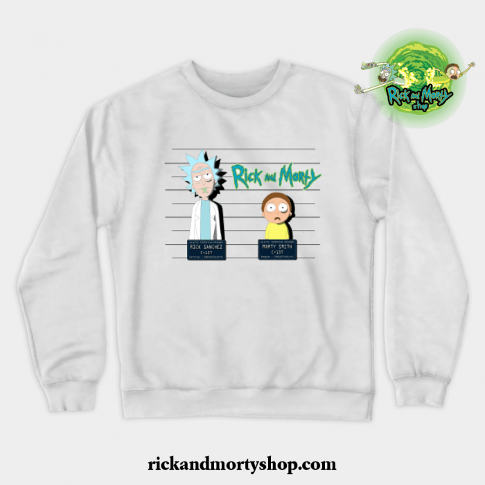 Rick And Morty Mugshot Crewneck Sweatshirt White / S