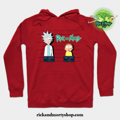 Rick And Morty Mugshot Hoodie Red / S