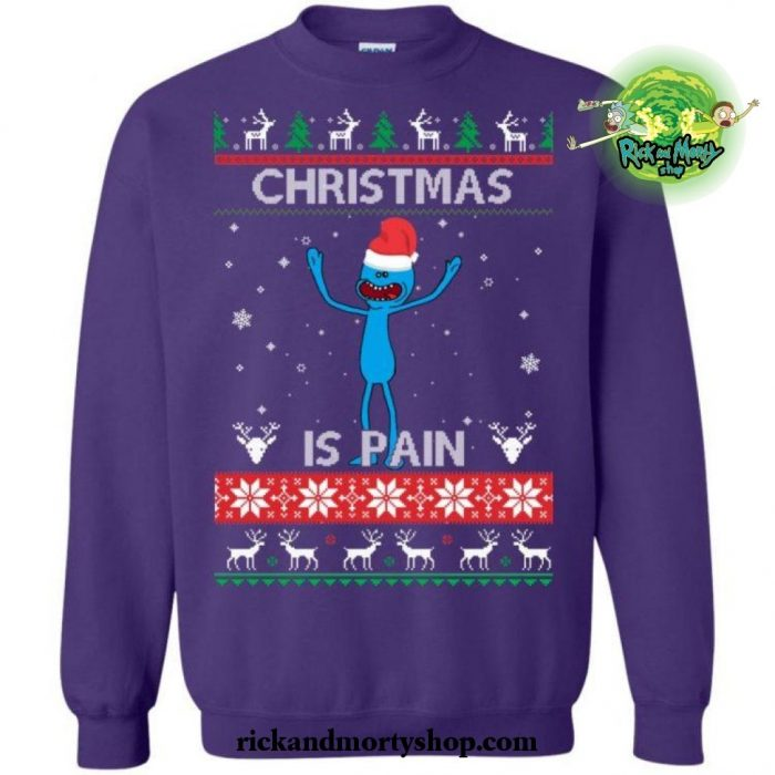 Christmas Is Pain Rick And Morty Sweater S / Blue